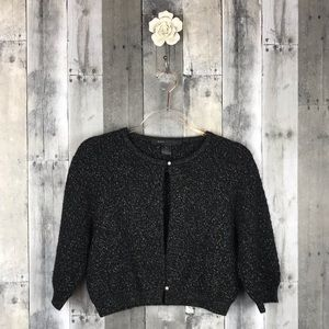 Marc Jacobs Black Metallic Thread Crop Cardi Large